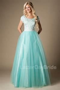 Modest Prom Dresses : Lizzie Jamaican Mist