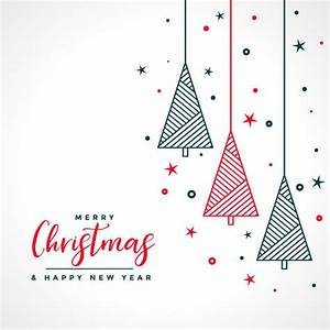 Merry christmas white card with red and black tree Vector ...