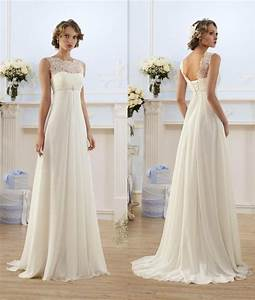 lace chiffon empire wedding dresses 2017 sheer neck capped With selling used wedding dresses