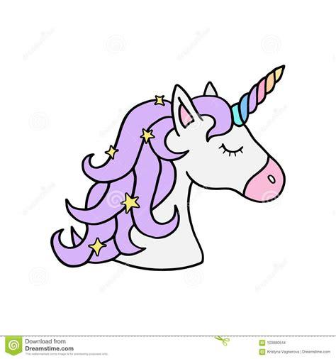 testa s dell unicorno con il corno porpora dell arcobaleno e della criniera illustrazione