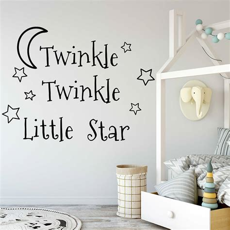 Nordic style stars string children's room wall decorations handmade nursery star garlands kids room diy photography props. Twinkle Twinkle Little Star Decals Stars Nursery Decor Baby Room Vinyl Wall Stickers Bedroom ...