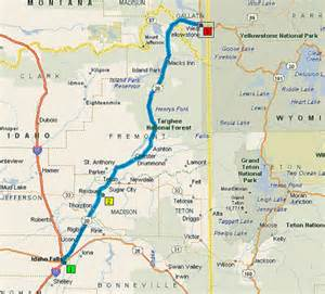 West Yellowstone to Idaho Falls Map