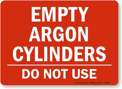 Argon Empty Sign Cylinders Signs Warning Cylinder