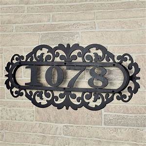 Laroyal black metal house number address plaque for Black metal house letters