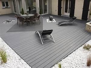 terrasse composite grise exterieur pinterest With idee de terrasse en composite