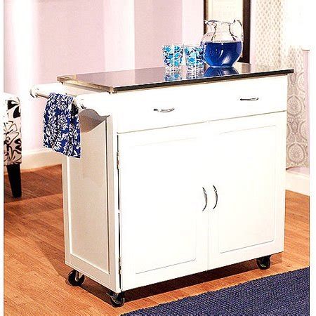 kitchen cart walmart large kitchen cart with stainless steel top
