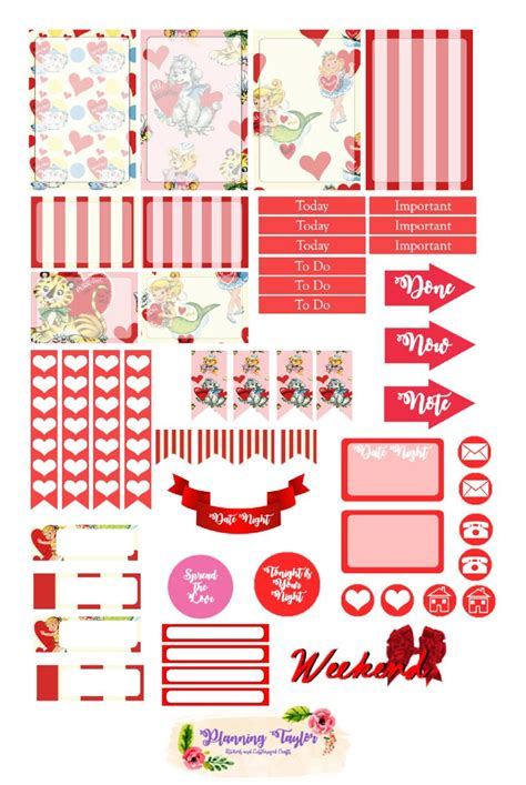 Cool confetti vector images and party backgrounds. Happy Planner Free Printable- Vintage Valentine's Day ...