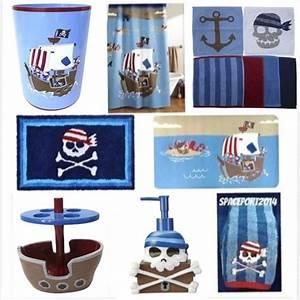Pirate ship set bathroom decor crossbones kids skulls for Pirate bathroom accessories