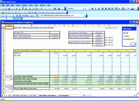 npv irr excel template exceltemplates exceltemplates