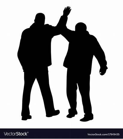 Give Five Vector Gesture Businessmen Between