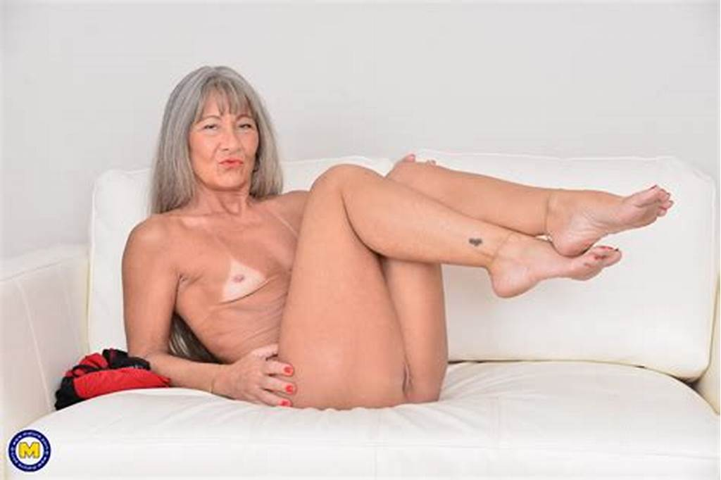 #Older #Woman #With #Grey #Hair #Uncovers #Her #Flat #Chest #While