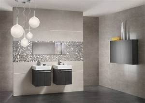 mur tuiles salle de bains grands formats nuances de gris With salle de bain sol gris mur blanc