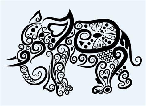 hand drawn elephant decoration pattern vector  love