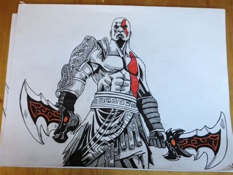 Kratos From God Of War Ballpoint Pen Drawing Art