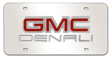 gmc chrome emblem denali   mirror license plate