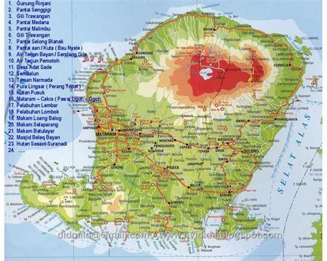 wisata lombok peta lokasi wisata pulau lombok maps