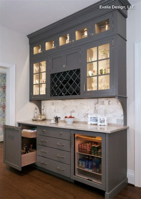 butlers pantry bar cabinet  wine storage beverage refrigerator lighted cabinetry