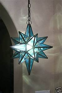 Blue moravian star pendant light fixture for sale on