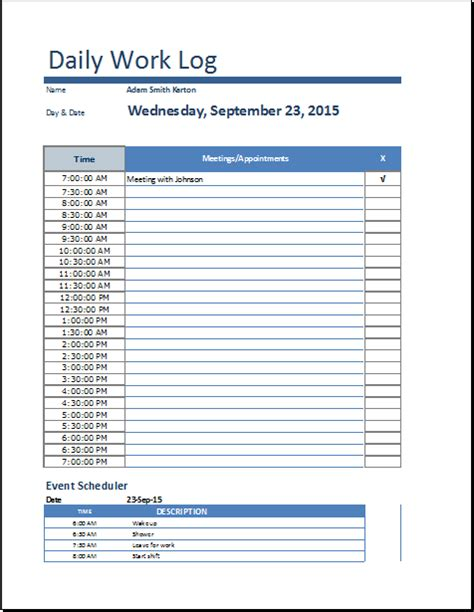 daily work log template ms excel daily work log template word document templates