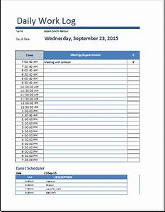 ms excel daily work log template word document templates With daily work tracker template