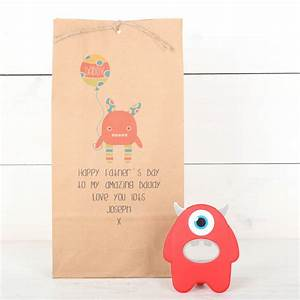 personalised monster gift bag and bottle opener by red ...