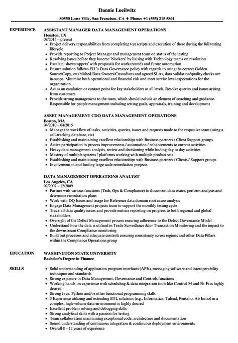 Data Management Resume Sle by Data Management Operations Resume Sles Velvet