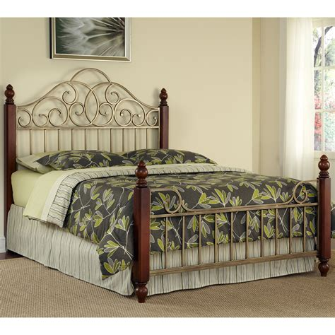 French Country King Bed Frame Solid Wood Bedroom Set Metal