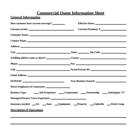 Boat Insurance Quote Sheet by 10 Useful Sle Quote Sheet Templates To