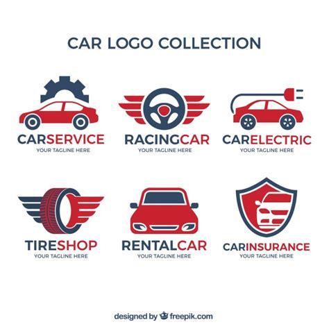 variedad de logos de coches con detalles rojos descargar vectores gratis