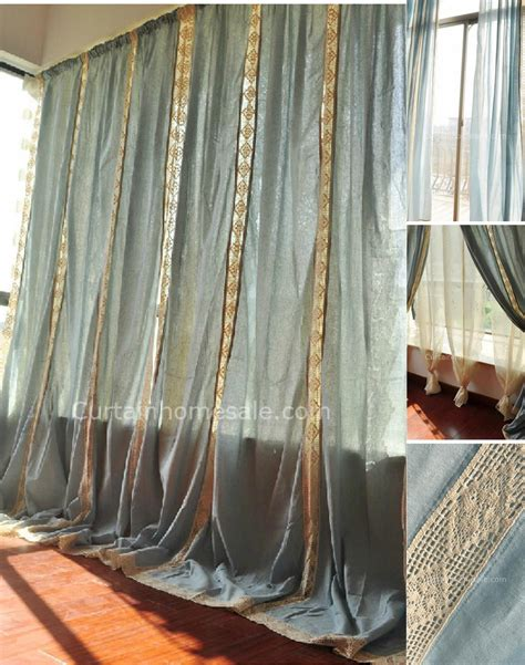 eco friendly big window cotton burlap curtains of