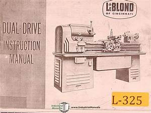 Leblond Dual Drive Engine Lathe Instructions Manual Year