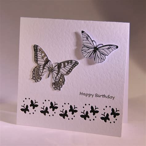stylish handmade birthday card  butterflies