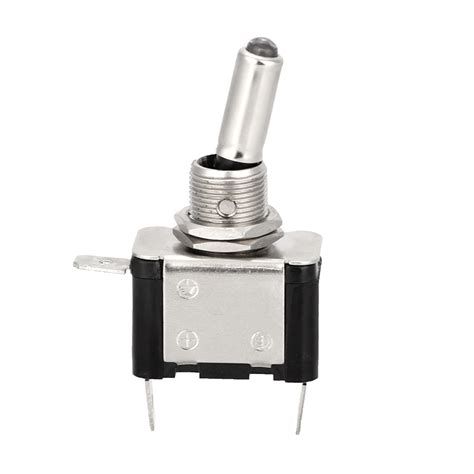 Metal Spst Blue Led Lighted Tip Toggle Switch