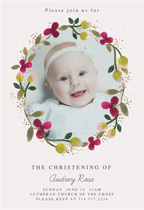 Floral Happiness Baptism & Christening Invitation