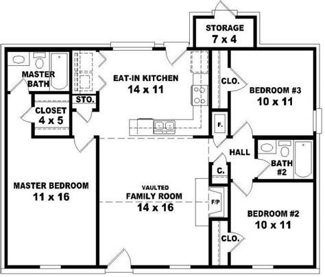 #653624  Affordable 3 Bedroom 2 Bath House Plan Design