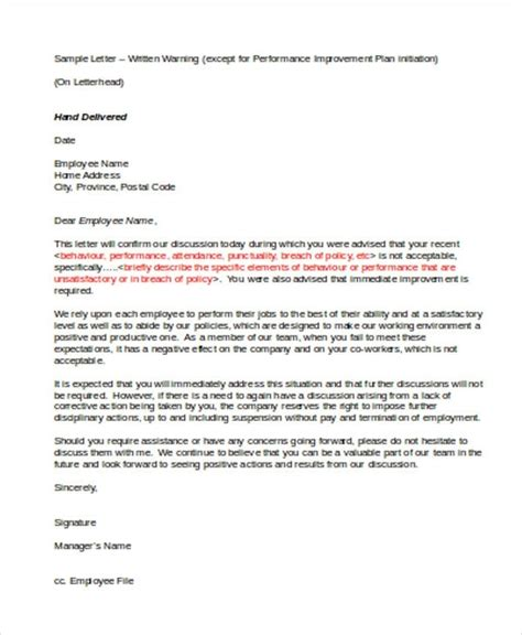 writing  warning letter  poor employee performance