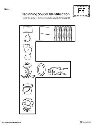 letter f beginning sound color pictures worksheet