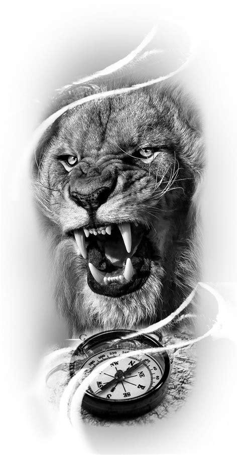 Tatoo leão bússola | Tatuagens cabeça de leão, Tatuagens