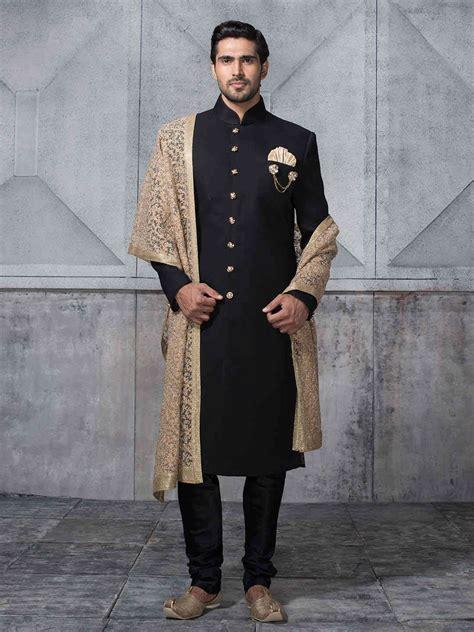eternal black sherwani designer wedding sherwani