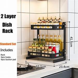 Metal, Kitchen, Spice, Rack, Countertop, Standing, Corner, Shelf, Removable, Seasoning, Organizer, Jars