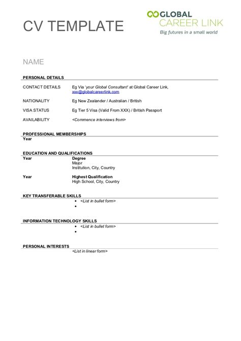 Cv Template To Print by Free Resume Form To Print Out Resume Format