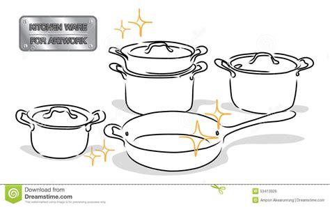 vaisselle de cuisine vaisselle de cuisine de dessin illustration de vecteur