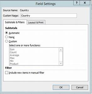 Custom Chart In Excel 2007 Subtotal And Total Fields In A Pivottable Excel