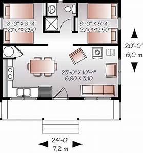 20x24' Floor plan w/ 2 bedrooms.