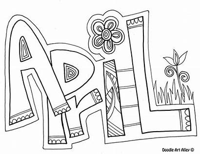 Coloring Month April Drawing Pages