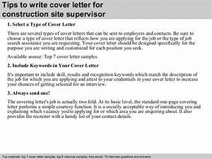 Construction site supervisor cover letter for Cover letter for site supervisor