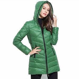 2017 Women 90% White Duck Down Jacket Women's Hooded Long ...