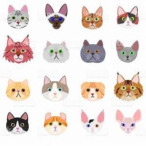 Cat Face Set On White Background stock vector art ...
