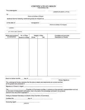 certificate of origin template certificate of origin form fill printable fillable blank pdffiller
