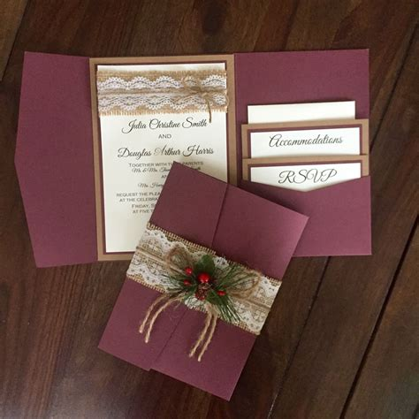 christmas wedding invitation rustic invitation set